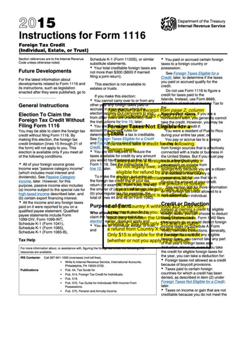 form 1120s instructions 2015 2015 instructions for form 1116 printable pdf download