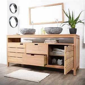 meuble salle de bain en teck serena xl meuble sous With meuble en teck pour salle de bain
