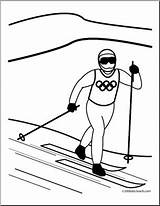 Coloring Cross Skiing Country Winter Olympic Olympics Skier Abcteach Sport Preview sketch template