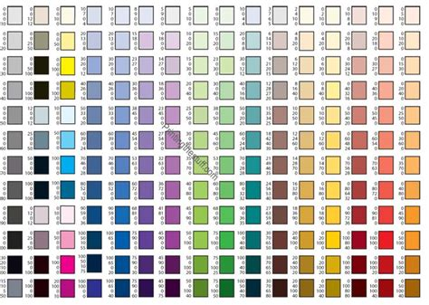 cmyk colors cmyk color chart colour reference