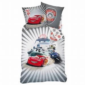 Parure de lit cars housse de couette 140 x 200 cm for Stickers chambre enfant avec carrefour housse couette