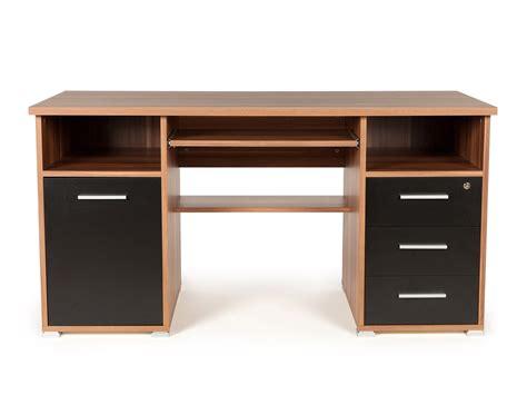 bureau bois de bureau informatique avec caisson tiroirs niches en bois