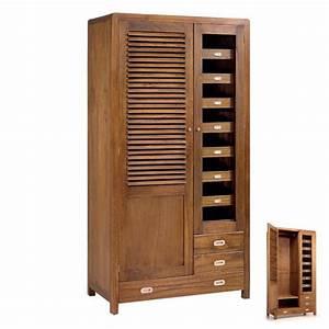 Armoire Basse Penderie : armoire penderie style r tro meuble bois chambre ~ Teatrodelosmanantiales.com Idées de Décoration