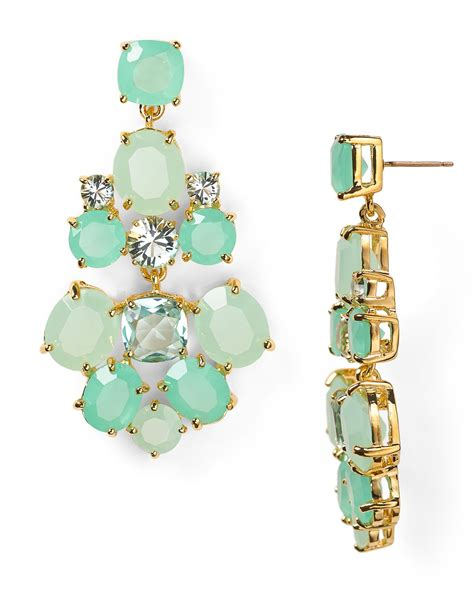 kate spade chandelier earrings in green giverny blue