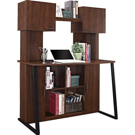 wood desk with hutch altra wood computer desk with hutch cherry by office depot
