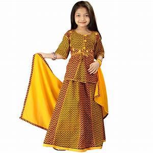 Online Yellow Rajasthani Zigzag Design Lehanga Kurti ...