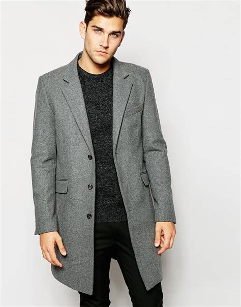 light grey long coat lyst asos wool overcoat in light grey in gray for men