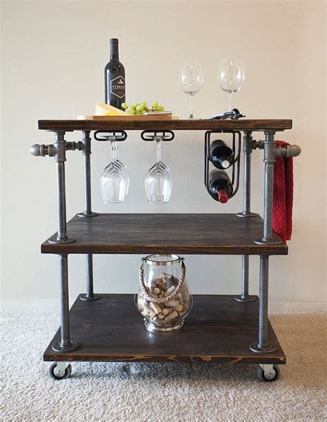 Kitchen Cart Pipe by Industrial Pipe Wine Bar Kitchen Cart With Built In