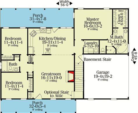 split ranch floor plans split bedroom country ranch 62099v 1st floor master suite cad available corner lot