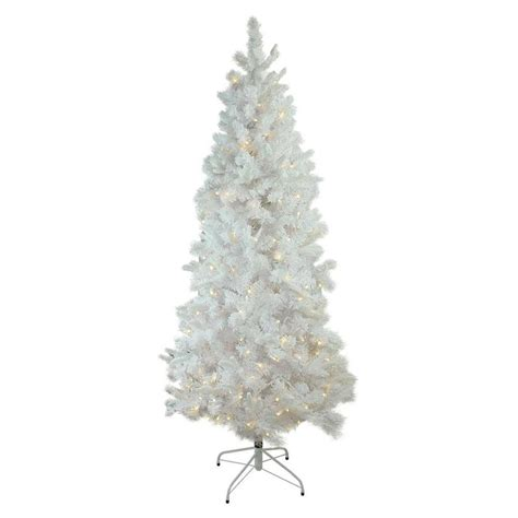 lowes white 9 ft slim white christmas northlight 9 ft pre lit slim flocked artificial tree with 550 constant warm white led