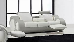 canape 3 places relax et design en cuir pierce mobilier moss With tapis design avec canapé cuir avec relax électrique