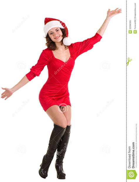 Santa Claus With Maiden In Bright Clothes Stock In Santa Claus Clothes Royalty Free Stock Photo