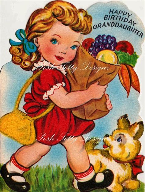 girls groceries  vintage  card