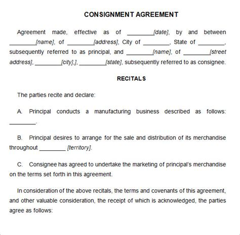 consignment agreement template resume examples