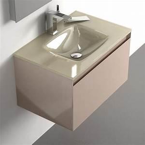 Meuble Salle De Bain Taupe : meuble salle de bain taupe 60 cm 1 tiroir plan verre glass ~ Dailycaller-alerts.com Idées de Décoration