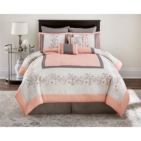 piece embroidered comforter set alexander blush