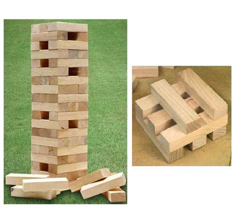 wooden tumbling jenga tower blocks garden outdoor bbq