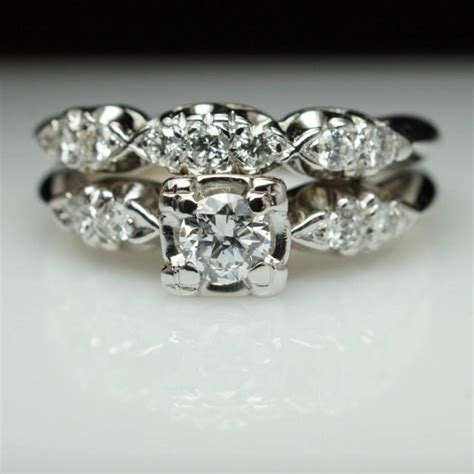 vintage deco bridal engagement ring matching wedding band deco ring