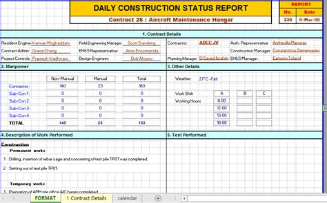 construction daily report template excel  examples