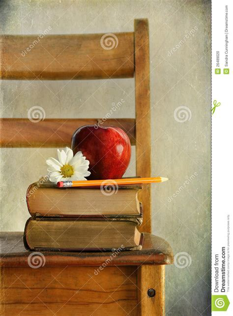 apple  books   school chair stock photo image