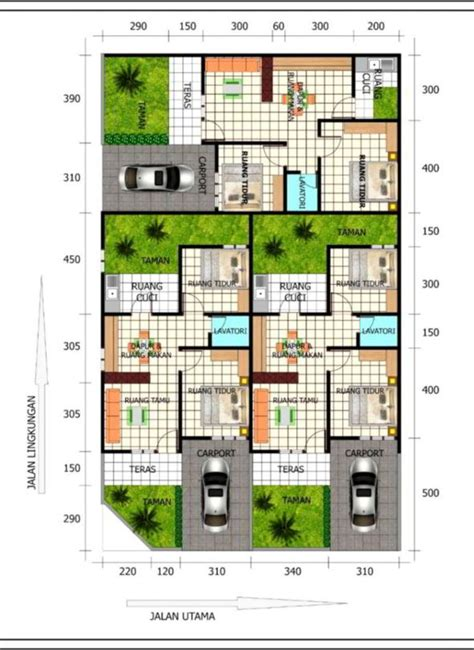 denah desain rumah minimalis type    lantai