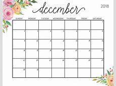 Free Printable 2018 December Calendar 2018 Calendar