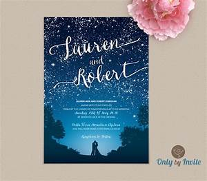 Starry night wedding invitation and rsvp set by onlybyinvite for Starry night wedding invitations template