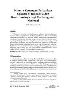 Kinerja Keuangan Perbankan Syariah di Indonesia dan
