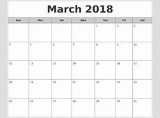 March 2018 Calendar Word calendar month printable