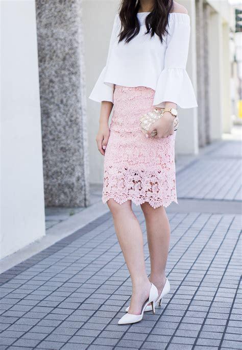 lace pencil skirt   shoulder top   tina bit