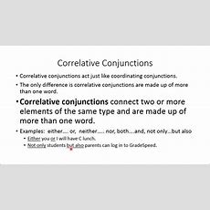 Lesson 17 Correlative Conjunctions Youtube