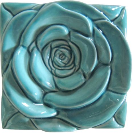 turquoise rose tile wall art contemporary artwork