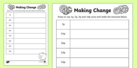 making change p p p  p coins worksheet worksheet
