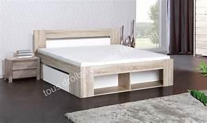 Lit Avec Rangement Intégré : lit 160 cm avec sommier tiroirs de lit et chevets intgrs ~ Teatrodelosmanantiales.com Idées de Décoration