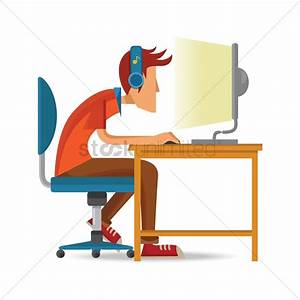 Man working on computer Vector Image - 1559578 ...