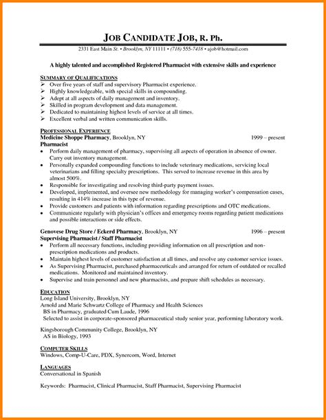 Pharmacy Technician Resume Exle by 8 Cv Sle For Pharmacist Theorynpractice