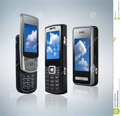 what type of phone do i three different types of mobile phones stock images