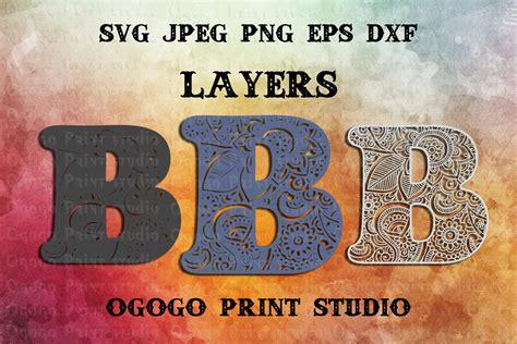 letter layered mandala svg zentangle svg monogram svg