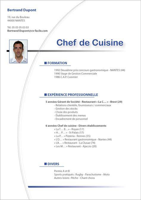 offre emploi chef de cuisine exemple cv saisonnier création cv par cv facile