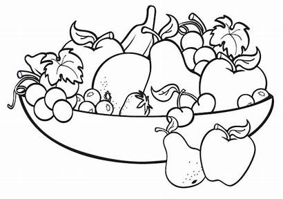 Coloring Fruit Pages Bowl Printable