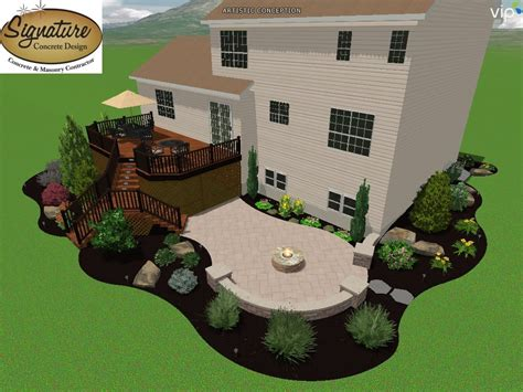 3d rendering deck and sted concrete patio with