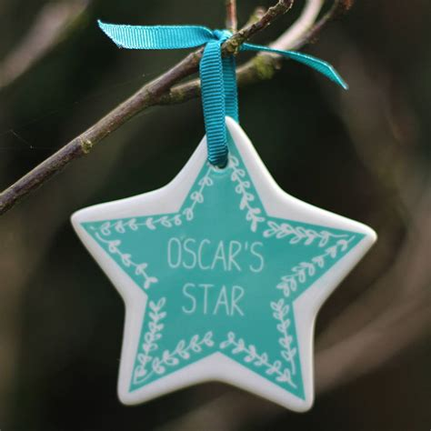personalised star christmas tree decoration  livi