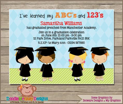 preschool graduation v1 invitation diy printable 270 | 1cddd07beb9245f66f4e05decd13f73e