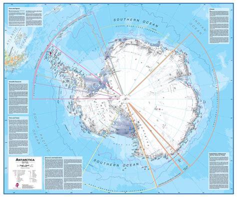 wall map  antarctica   southern ocean