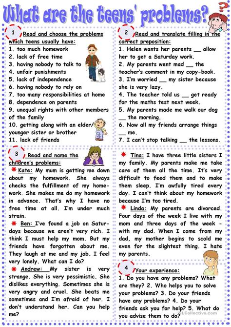 What Are The Teens Problems? Worksheet  Free Esl Printable Worksheets Made By Teachers