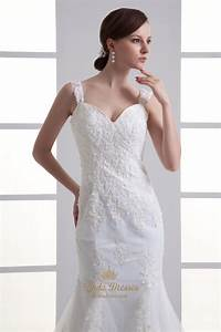 ivory mermaid lace applique tulle wedding dresses for With petite lace wedding dresses