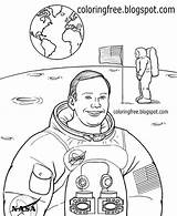 Coloring Space Drawing Printable System Solar Astronaut Moon Neil Armstrong Nasa Landing Sheet Mission Planet Outer Learning Lessons Spaceship Children sketch template