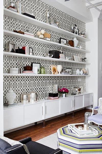 geometric wallpaper  shelving