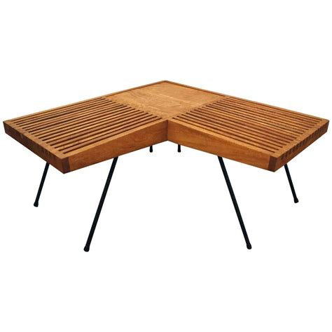 square table l shades 1950s mahogany and iron corner l shaped slat table or