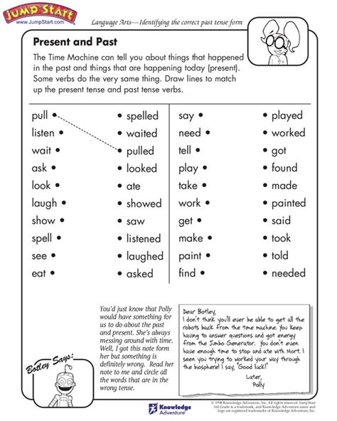 present and past tense verbs worksheet
